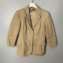 Elie Tahari Tan Safari Jacket Sz 4 Womens Blazer Lined Career Business  Photo