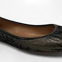 Elie Tahari Venus Womens Ballet Shoe Sz 39 M Black Gold Lace Flat Auth Designer Photo