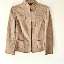 Elie Tahari Virgin Wool Fitted Camel Tweed Blazer Photo