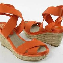Elie Tahari Wedge Orange Sandal Womens Size 6.5 M Pre-Owned 200 Photo