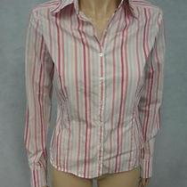 Elie Tahari White Pink Light Purple Striped Cotton Nylon Button Down Shirt Top S Photo