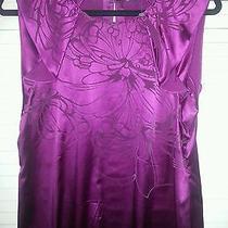 Elie Tahari Wine Silk Blend Blouse Top Shirt M Photo