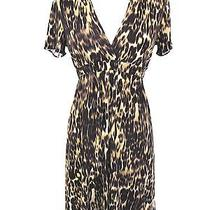 Elie Tahari Women Animal Print Silk Accented Waistline v Neckline Dress Size Xs Photo