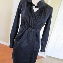 Elie Tahari Women's Black Stretch Cotton Wrap Dress Size 0 Photo