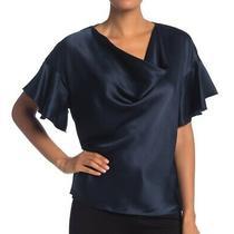 Elie Tahari Women's Blouse Blue Small S Cowl Neck Silk Flutter Sleeve 298 319 Photo