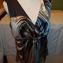 Elie Tahari Women's Easton Blouse Sleeveless Watercolor Print Top L  Nwt Dressy Photo