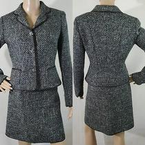 Elie Tahari Women's Tweed Combo Green Virgin Wool  Blazer & Skirt Set Size 6 Guc Photo