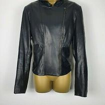 Elie Tahari Womens Black 100% Soft Leather Jacket Uk 14  Photo