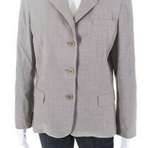 Elie Tahari Womens Button Down Blazer Jacket Beige Wool Size 12 Ll19ll Photo