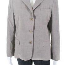 Elie Tahari Womens Button Down Blazer Jacket Beige Wool Size 12 Ll19ll Photo