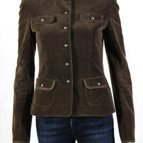 Elie Tahari Womens Cotton Corduroy Button Up Jacket Blazer Brown Size 4 Photo