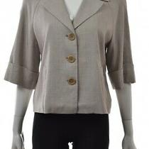 Elie Tahari Womens Jacket Size M Gray 3/4 Sleeve Basic Blazer Casual Photo