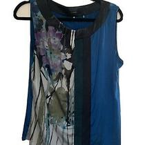 Elie Tahari Womens Large Blue Sleeveless Blouse Photo