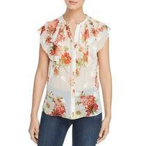 Elie Tahari Womens Margot Ivory Silk Floral Print Blouse Top Xl Bhfo 0023 Photo