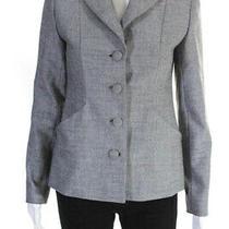 Elie Tahari Womens Micro Check Two Button Blazer Black White Size 2 Ll19ll Photo