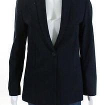 Elie Tahari Womens Notched Collar One Button Plunging Neck Blazer Blue Size 4 Photo