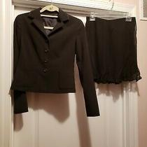 Elie Tahari Womens Size 2 /4 Blazer Jacket Skirt Suit Black Short Skirt Office Photo