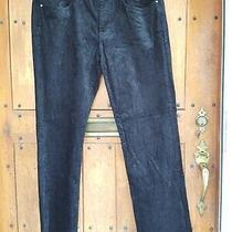 Elie Tahari Womens Sz 14 Black Cotton Blend Shiny Straight Leg Corduroy Pants Photo
