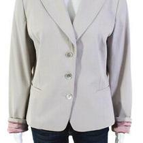 Elie Tahari Womens v Neck Three Button Long Sleeve Blazer Beige Wool Size 14 Photo