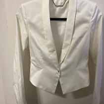 Elie Tahari Womens White One-Button Blazer Suit Jacket Size 6 Photo