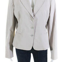 Elie Tahari Womens Wool Long Sleeve Notch Collar Blazer Beige Size 14 Ll19ll Photo