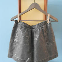 Eliot Madewell Gray Silver Foil Floral Print a-Line Skirt / Size 4 Photo