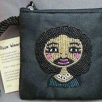 Elissa Bloom Nwt Fabric Clutch Change Purse Black Beaded Womans Face Wristlet  Photo