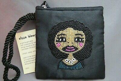 elissa bloom NWT Fabric Clutch Change Purse Black Beaded Womans Face Wristlet  Photo