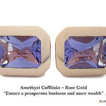 Elite & Luck Amethyst Sterling Silver Cufflinks for Men Rose Gold Plated Photo