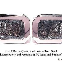 Elite & Luck Black Rutile Quartz Sterling Silver Cufflinks for Men Rose Gold Pl Photo