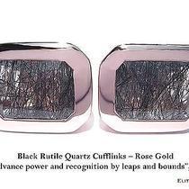 Elite & Luck Black Rutile Quartz Sterling Silver Cufflinks for Men Rose Gold Pl Photo