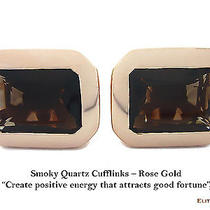 Elite & Luck Smoky Quartz Sterling Silver Cufflinks for Men Rose Gold Plated Photo
