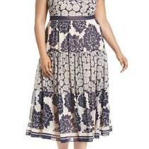 Eliza J Print Midi in Navy Blush Dress Sz Plus 18w  Photo