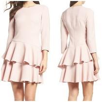 Eliza J Womens Tiered Ruffle Dress Blush Pink Size 6 Photo