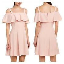 Eliza J Womens 10 Blush Pink Cold Shoulder Ruffle Trim Mini Cocktail Dress New Photo