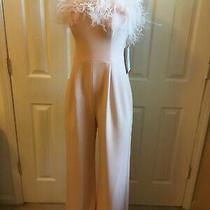 Eliza J Womens Jumpsuit Blush Size 8 Off-the-Shoulder Feather Solid 248.00 Photo