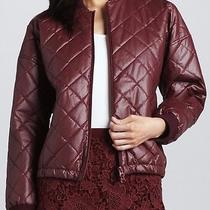 Elizabeth and James Bordeaux Red Lena Quilted Bomber Jacket Size S Bnwt 400 Photo