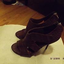 Elizabeth and James E-Latch Croc Open Toe Booties Brown New Sz 6 M Retail 375 Photo