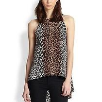 Elizabeth and James Everly Leopard Print Silk Sleeveless Flared Back Top Photo