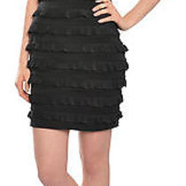 Elizabeth and James Fitted Vivienne Ruffle Strapless Black Eve Dress Medium New Photo