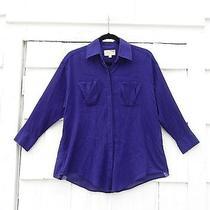 Elizabeth and James Purple Crinkle Gauze Oversized Dolman Sleeve Shirt Xs Photo