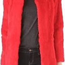 Elizabeth and James Red Bora Genuine Rabbit Fur Coat Jacket 995 Photo