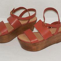 Elizabeth & James Bax Brown Leather Platform Wedge Wood Sandals Size 8b Shoes  Photo