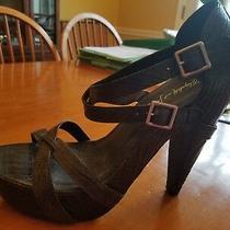 Elizabeth & James Black High Heeled Platform Sandals Size 10.5 Photo