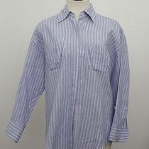 Elizabeth & James Blue Boyfriend Linen Button Down Dress Shirt Top Blouse Sz S Photo