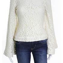 Elizabeth & James Cream Lace Detail Bell Sleeve Scoop Neck Top Sz  Photo