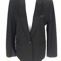 Elizabeth & James Vogue Top Pick Black Leather Dress Top Jacket New Photo