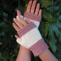 Ella Fingerless Gloves Blush Knit Handmade Victorian Cream Pink Ivory White Photo