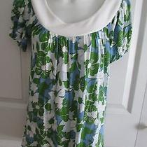 Ella Moss Blue/green Print Peasant Blouse Size Small Floral Short Sleeve Photo