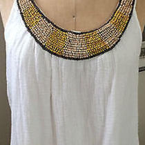 Ella Moss Creme Tank With Wood Bead Accent Photo